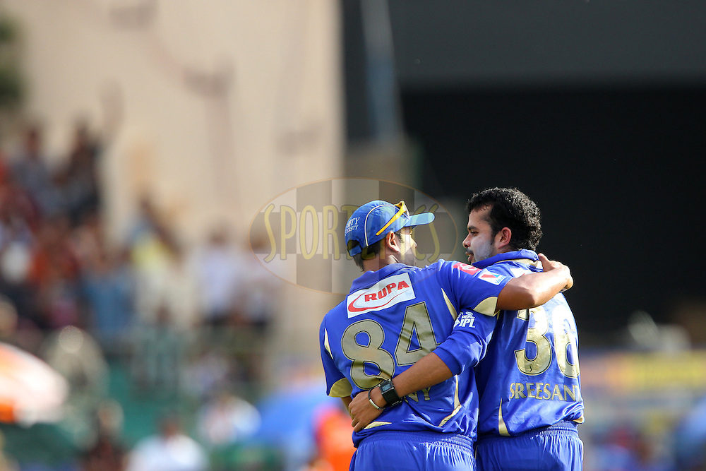 Sree Sreesanth celebrates the wicket of Ab de Villiers  with Stuart Binny during match 40 of the Pepsi Indian Premier League ( IPL) 2013  between The Rajasthan Royals and the Royal Challengers Bangalore held at the Sawai Mansingh Stadium in Jaipur on the 29th April 2013..Photo by Ron Gaunt-IPL-SPORTZPICS ..Use of this image is subject to the terms and conditions as outlined by the BCCI. These terms can be found by following this link:..http://www.sportzpics.co.za/image/I0000SoRagM2cIEc
