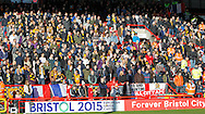 Hull City fans observe a minutes silence during the Sky Bet Championship match at Ashton Gate, Bristol<br /> Picture by Mike Griffiths/Focus Images Ltd +44 7766 223933<br /> 21/11/2015