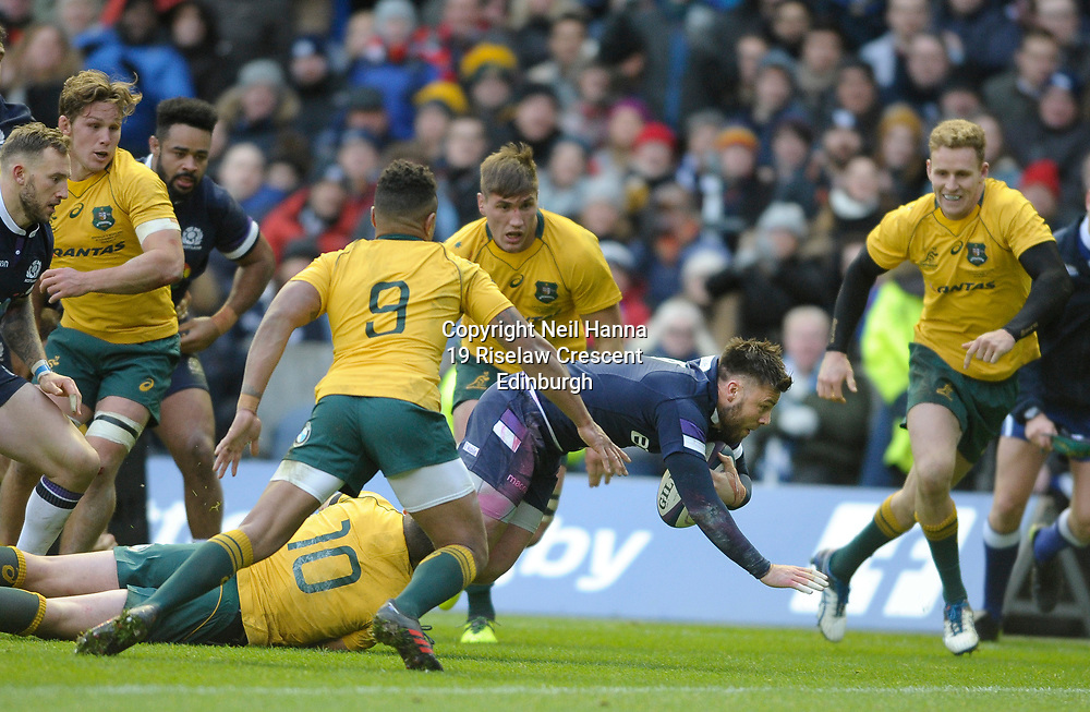 No Sales, Syndication or Archive <br /> <br /> Autumn Tests<br /> Scotland v Australia Saturday 25th November 2017, BT Murrayfield, Edinburgh.<br /> <br /> Ali Price of Scotland scores Scotland's 2nd try<br /> <br /> <br /> <br />  Neil Hanna Photography<br /> www.neilhannaphotography.co.uk<br /> 07702 246823