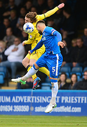 Luke James of Bristol Rovers battles for a high ball with Max Ehmer of Gillingham - Mandatory by-line: Alex James/JMP - 14/04/2017 - FOOTBALL - MEMS Priestfield Stadium - Gillingham, England - Gillingham v Bristol Rovers - Sky Bet League One