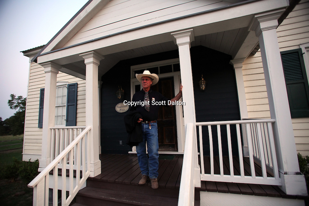 John Elick stands outside of The Confederate House, one of the homes of Taunia and John Elick located at their ranch headquarters in Chappell Hill, Texas on Wednesday September 2, 2009. The couple rescues old houses and move them to their Texas ranch where after extensive repairs and remodeling they turn them into bed and breakfasts. Their bed and breakfast is called Texas Ranch Life. (Photo/Scott Dalton)