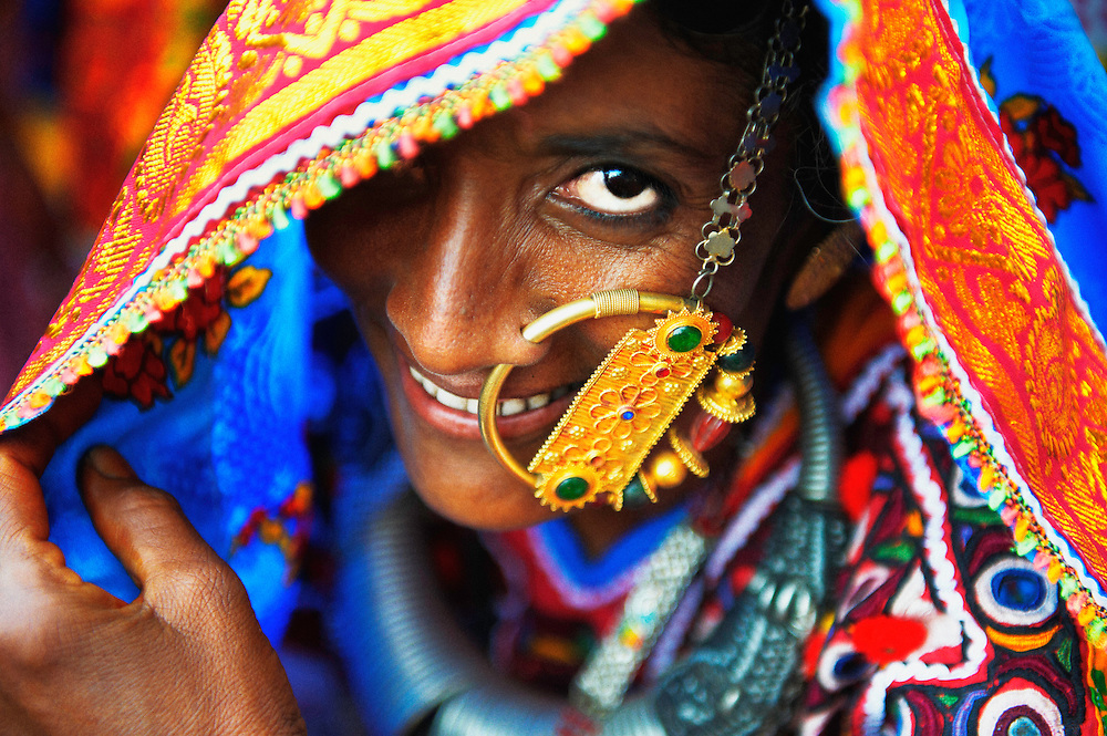 """A harijan woman wearing a traditional nose ring called """"Velado"""". It is a sign that the woman is married and it is worn only on special occasions."""