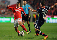 20120331: LISBON, PORTUGAL – Portuguese Liga Zon Sagres 2011/2012 - SL Benfica vs CS Braga.<br />In picture: Benfica's Rodrigo Moreno, from Spain, left, fights for the ball with Braga's Miguel Lopes.<br />PHOTO: Alvaro Isidoro/CITYFILES