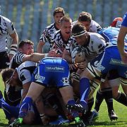 Parma, Stadio Lanfranchi<br /> 8/04/2017<br /> Round 19<br /> Zebre vs Newport Gwent Dragons<br /> <br /> Gideon Koegelenberg in ruck