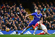 Arsenal defender Shkodran Mustafi (20) tackles Chelsea forward Diego Costa (19) during the Premier League match between Chelsea and Arsenal at Stamford Bridge, London, England on 4 February 2017. Photo by Jon Bromley.