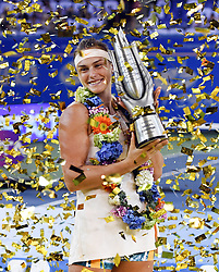 WUHAN, Sept. 29, 2018  Aryna Sabalenka of Belarus poses during the trophy ceremony after winning the singles final match against Anett Kontaveit of Estonia at the 2018 WTA Wuhan Open tennis tournament in Wuhan, central China's Hubei Province, on Sept. 29, 2018. Aryna Sabalenka won 2-0 and claimed the title. (Credit Image: © Song Zhenping/Xinhua via ZUMA Wire)
