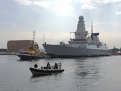 © Licensed to London News Pictures. 02/09/2014. Cardiff, UK. NATO warship HMS Duncan, , a type 45 destroyer with multi function radar capability (air defence) arrives in Cardiff Bay ahead of the Summit this Thursday - it is one of several vessels which is expected in the historic docks. Photo credit : Ian Homer/LNP