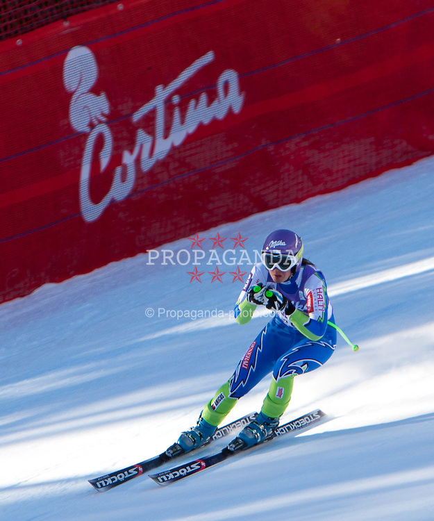 13.01.2012, Pista Olympia delle Tofane, Cortina, ITA, FIS Weltcup Ski Alpin, Damen, Abfahrt, 2. Training, im Bild Tina Maze (SLO) // Tina Maze of Slovenia during ladies downhill 2nd training of FIS Ski Alpine World Cup at 'Pista Olympia delle Tofane' course in Cortina, Italy on 2012/01/13. EXPA Pictures © 2012, PhotoCredit: EXPA/ Johann Groder