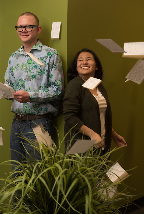 Professor Jeff Dodd and student for feature in Gonzaga Magazine. (Photo by Rajah Bose)