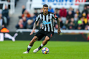 Kenedy (#15) of Newcastle United in action during the Premier League match between Newcastle United and Huddersfield Town at St. James's Park, Newcastle, England on 31 March 2018. Picture by Craig Doyle.