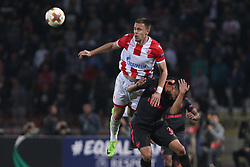 Milan Rodic of Crvena Zvezda vs Francis Coquelin of Arsenal during football match between NK Crvena Zvezda Beograd and Arsenal FC in Group H of UEFA Europa League 2017/18, on October 19, 2017 in Stadion Rajko Mitic, Belgrade, Serbia. Photo by Marko Metlas / Sportida