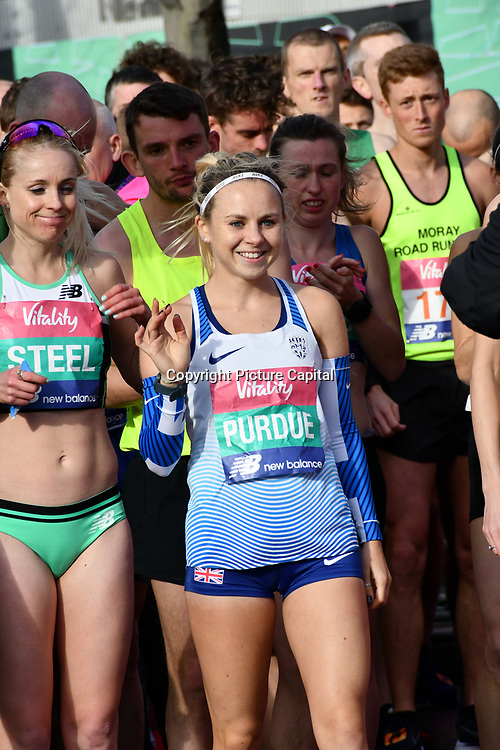 Charlotte Purdue at the race start men and women at The Vitality Big Half 2019 on 10 March 2019, London, UK.