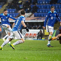 St Johnstone v Motherwell…15.12.18…   McDiarmid Park    SPFL<br />Danny Swanson's shot is deflected past the post<br />Picture by Graeme Hart. <br />Copyright Perthshire Picture Agency<br />Tel: 01738 623350  Mobile: 07990 594431