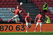 Nathan Baker (6) of Bristol City heads the ball during the EFL Sky Bet Championship match between Bristol City and Hull City at Ashton Gate, Bristol, England on 21 April 2018. Picture by Graham Hunt.