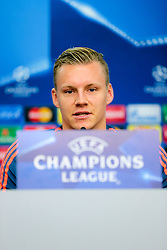 11.09.2015, BayArena, Leverkusen, GER, UEFA CL, Bayer 04 Leverkusen vs FC Bate Borisov, Gruppe E, Pressekonferenz, im Bild Bernd Leno (#1, Torwart, Bayer 04 Leverkusen) // during a press conference prior to the UEFA Champions League group E, 1st Leg match between between Bayer 04 Leverkusen and FC Bate Borisov at the BayArena in Leverkusen, Germany on 2015/09/11. EXPA Pictures © 2015, PhotoCredit: EXPA/ Eibner-Pressefoto/ Deutzmann<br /> <br /> *****ATTENTION - OUT of GER*****