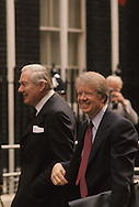 President Jimmy Carter arriving at Number 10 Downing Street at the London Economic Summit in May 1977.  On left is Prime Minister Callaghan...Photograph by Dennis Brack bb 21