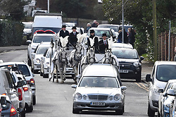 """© Licensed to London News Pictures. 13/02/2020. Sevenoaks, UK. The coffins make their way to St John the Baptist church in Sevenoaks, Kent for he funeral of traveller brothers Billy and Joe Smith. The twin brothers, who were made famous by the television programme """"My Big Fat Gypsy Wedding"""", were found hanged in woodland three days after Christmas. Photo credit: Ben Cawthra/LNP"""
