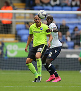 Brighton striker, Bobby Zamora, Robert Zamora shields the ball during the Sky Bet Championship match between Bolton Wanderers and Brighton and Hove Albion at the Macron Stadium, Bolton, England on 26 September 2015.