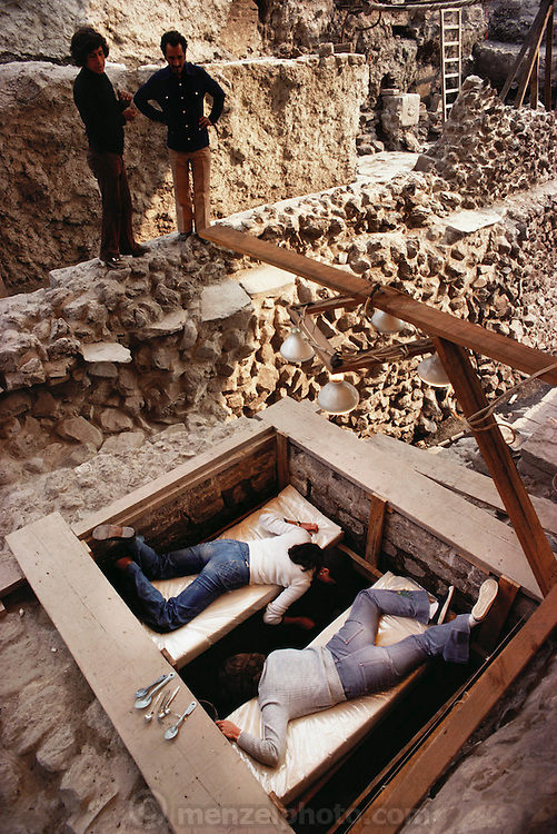 Archeologists excavating an Aztec site near the Zocalo in Mexico City, Mexico.