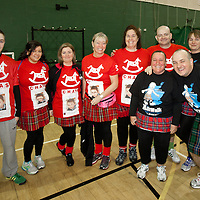 Images from The Glasgow Kiltwalk 2013. A group of KIltwalkers at the start of the half distance walk in Clydebank