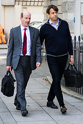 London, September 22nd 2016.  Carl Rogberg, right, the former finance director of Tesco UK, charged with one count of fraud by abuse of position and one count of false accounting, arrives at Westminster Magistrates Court, following the 2014 £263m-plus accounting scandal at the supermarket chain. ©Paul Davey<br /> FOR LICENCING CONTACT: Paul Davey +44 (0) 7966 016 296 paul@pauldaveycreative.co.uk