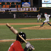 Mark Montgomery pitching for the RailRiders during the Rochester Red Wings V The Scranton/Wilkes-Barre RailRiders, Minor League ball game at Frontier Field, Rochester, New York State. USA. 16th April 2013. Photo Tim Clayton