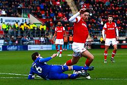 Edward Upson of Bristol Rovers slides in to stop an attack by Matt Crooks of Rotherham United - Mandatory by-line: Ryan Crockett/JMP - 18/01/2020 - FOOTBALL - Aesseal New York Stadium - Rotherham, England - Rotherham United v Bristol Rovers - Sky Bet League One