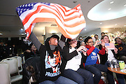 Jan. 21, 2009; Obama, Fukui Prefecture, Japan - (L-R) Americans Alcillena Wilson, Lucia Brea, Ashley Hayes and Sara Wall celebrate during an Obama inauguration viewing party at Hotel Sekumiya.