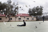 CALTANISSETTA, ITALY - 28 NOVEMBER 2014: An asylum seekers feeds doves and pigeons in the courtyard of  the Pian del Lago CARA (Accommodation Centre for Asylum Seekers) in Caltanissetta, Italy, on November 28th 2014. To this date, the Pian de Lago CARA hosts 491 asylum seekers, while 40 illegal immigrants are held in the CIE (Center for Identification and Deportation), before being deported.