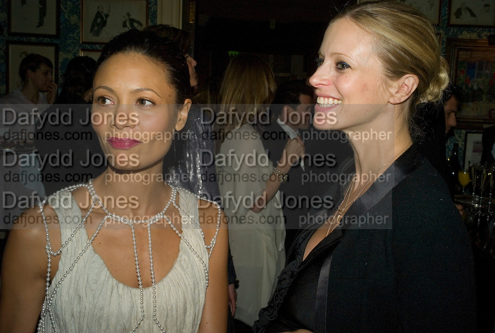 THANDIE NEWTON AND LAURA BAILEY, Pre Bafta dinner hosted by Charles Finch and Chanel. Mark's Club. Charles St. London. 9 February 2008.  *** Local Caption *** -DO NOT ARCHIVE-© Copyright Photograph by Dafydd Jones. 248 Clapham Rd. London SW9 0PZ. Tel 0207 820 0771. www.dafjones.com.