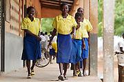 School girls move between classes at Pope John.s Catholic School in northern Ghana.