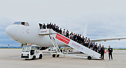 LIVERPOOL, ENGLAND - Sunday, June 2, 2019: Liverpool's manager Jürgen Klopp and captain Jordan Henderson and the team arrive home at Liverpool John Lennon Airport with the trophy after winning the UEFA Champions League Final beating Tottenham Hotspur 2-0 to win their sixth European Cup. (Pic by David Rawcliffe/Propaganda)