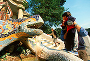 SPAIN, GAUDI, BARCELONA PARC GUELL; hillside park and fountain