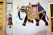 INDIA, RAJASTHAN Udaipur, traditional home wall painting