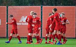 KIRKBY, ENGLAND - Saturday, January 26, 2019: Liverpool's Bobby Duncan celebrates scoring the second goal during the FA Premier League match between Liverpool FC and Manchester United FC at The Academy. (Pic by David Rawcliffe/Propaganda)
