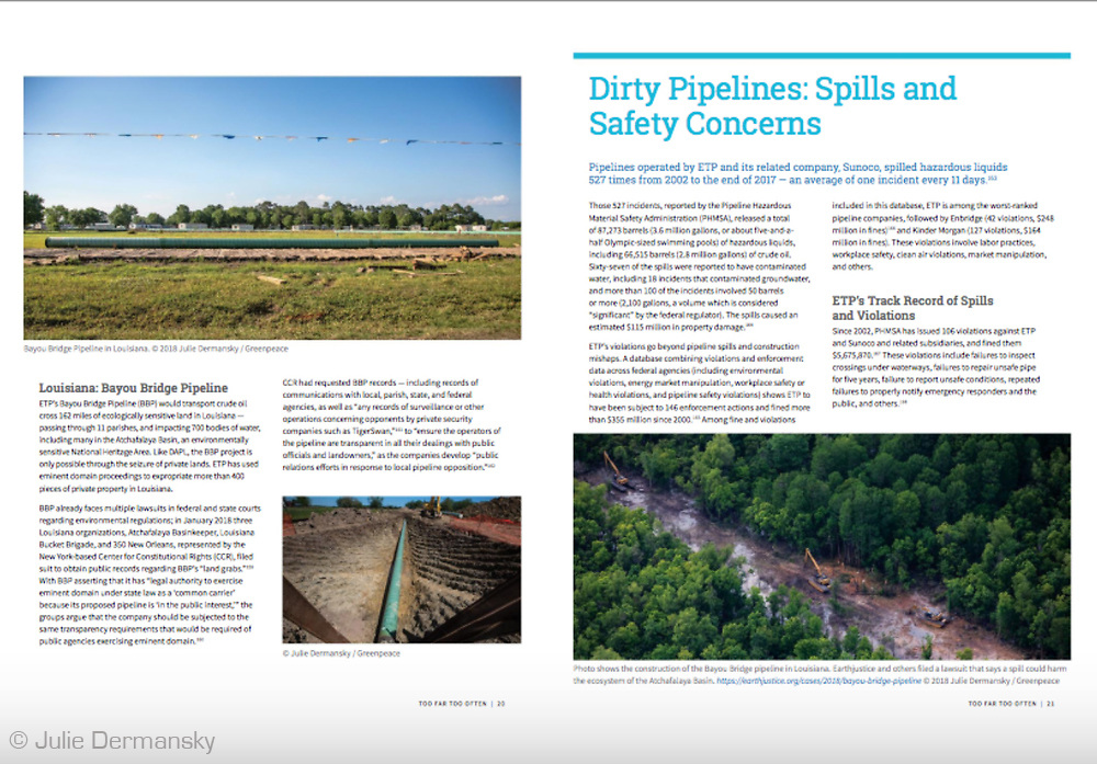 Photos of the Bayou Bridge pipeline being installed shot in a Greenpeace report: Too Far Too Often : Energy Transfer Partners' Behavior On Human Rights, Free Speech,  and the Environment