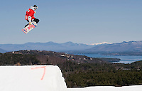 Anthony Adkins of Manchester gets some air off one of the three jumps during the Gunstock Open Pro/Am event held Saturday at Gunstock Mountain Resort.  Karen Bobotas/for the Laconia Daily Sun