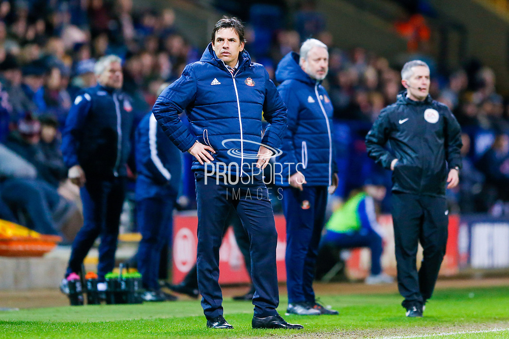 Dejected Sunderland Manager Chris Coleman  during the EFL Sky Bet Championship match between Bolton Wanderers and Sunderland at the Macron Stadium, Bolton, England on 20 February 2018. Picture by Simon Davies.