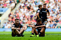 Luke Cowan-Dickie of Exeter Chiefs and Henry Slade of Exeter Chiefs look dejected after the final whistle of the match - Mandatory by-line: Ryan Hiscott/JMP - 01/06/2019 - RUGBY - Twickenham Stadium - London, England - Exeter Chiefs v Saracens - Gallagher Premiership Rugby Final
