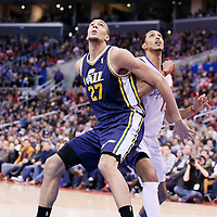 01 February 2014: Utah Jazz center Rudy Gobert (27) vies for the rebound with Los Angeles Clippers center Ryan Hollins (15) during the Los Angeles Clippers 102-87 victory over the Utah Jazz at the Staples Center, Los Angeles, California, USA.