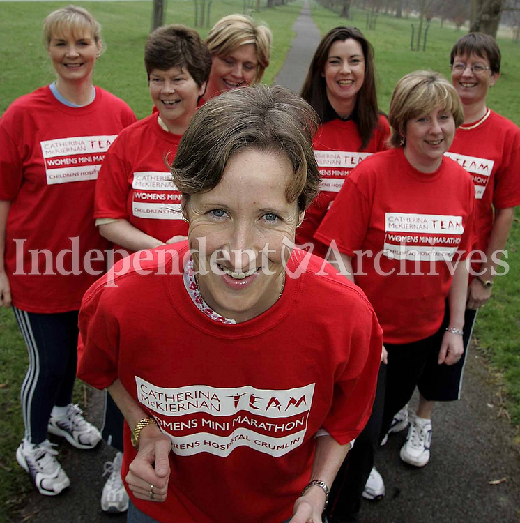 Ex Irish International Athlete Catherina McKiernan, pictured with her Ladies Mini Marathon Team (from left)Mary Coghlan, Martha Kenny, Josephine Morris, Sarah Harris, Marie Kileen, and Mary O'Connor. They will run for Our Ladys Hospital for Sick Children, Crumlin on June 6th (Copyright Independent News and Media)