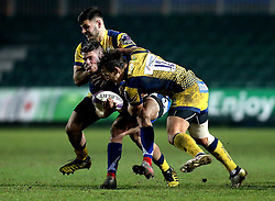 Matti Williams of Worcester Warriors and Ryan Mills of Worcester Warriors tackle Tavis Knoyle of Newport Gwent Dragons - Mandatory by-line: Robbie Stephenson/JMP - 16/12/2016 - RUGBY - Rodney Parade - Newport, Wales - Newport Gwent Dragons v Worcester Warriors - European Rugby Challenge Cup
