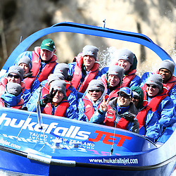 TAUPO, NEW ZEALAND - SEPTEMBER 20, Springbok players  during the Springboks Jet Boat Trip at Hukafalls on September 20, 2011 in Taupo, New Zealand<br /> Photo by Steve Haag / Gallo Images