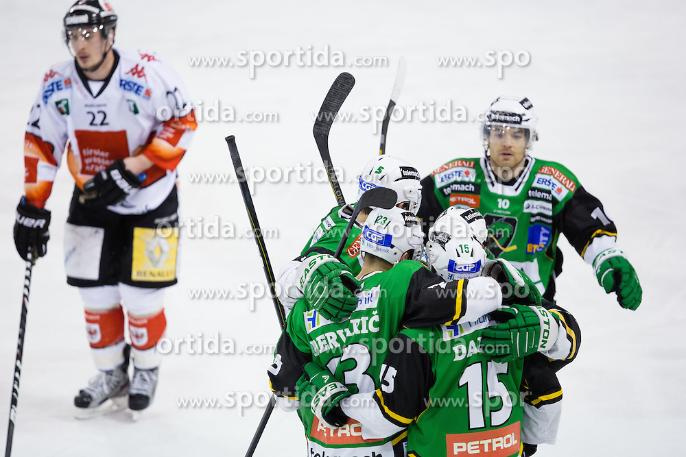 "13.02.2013, Hala Tivoli, Ljubljana, SLO, EBEL, HDD Telemach Olimpija Ljubljana vs HC TWK Innsbruck ""Die Haie"", 6. Qualifikationsrunde, in picture Players of HDD Telemach Olimpija celebrate after scoring a goal during the Erste Bank Icehockey League 6th Qualification Round match between HDD Telemach Olimpija Ljubljana and HC TWK Innsbruck ""Die Haie"" at the Hala Tivoli, Ljubljana, Slovenia on 2013/02/13. (Photo By Matic Klansek Velej / Sportida)"