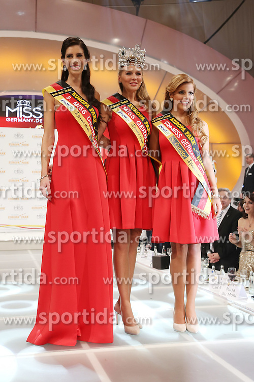 28.02.2015, Europapark Dom, Rust, GER, Miss Germany Wahl 2015, im Bild 3. Lisa Wargulski (Miss Brandenburg 2015), Miss Germany 2015 Olga Hofmann (Miss Pearl.tv 2015), 2. Julia Kraml (Miss Bayern 2015) // during the election to Miss Germany 2015 at the Europapark Dom in Rust, Germany on 2015/02/28. EXPA Pictures &copy; 2015, PhotoCredit: EXPA/ Eibner-Pressefoto/ BW-Foto<br /> <br /> *****ATTENTION - OUT of GER*****