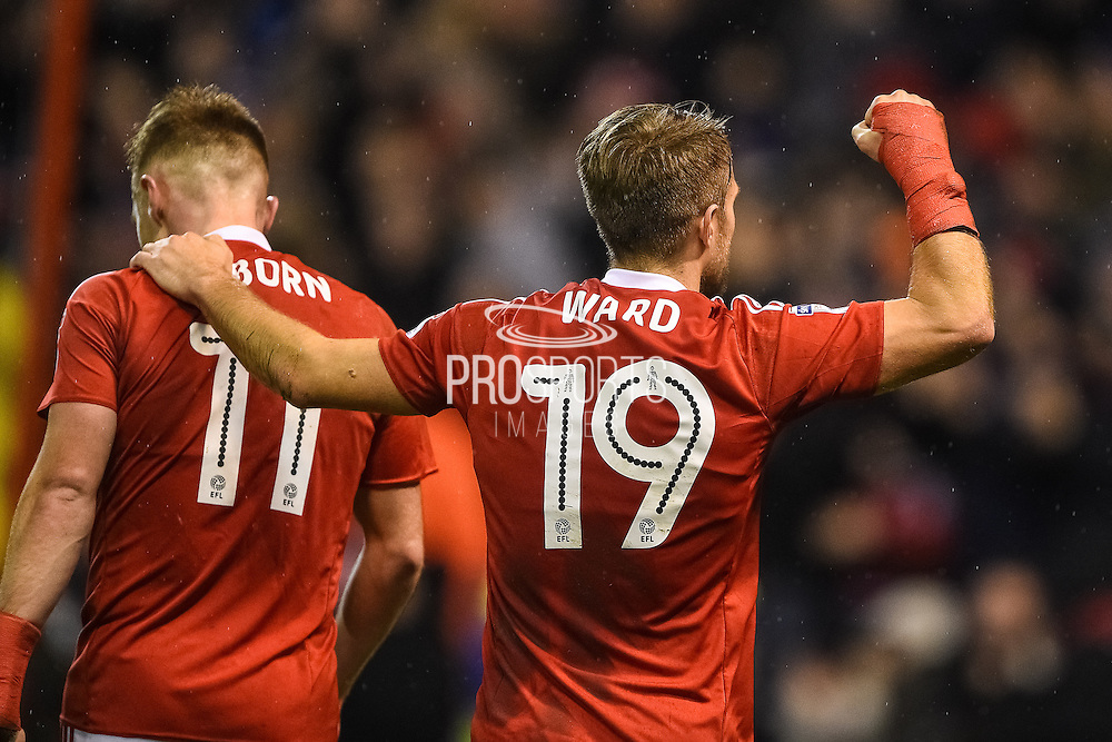 Nottingham Forest forward Jamie Ward (19) celebrates Forest's second goal scored by Nottingham Forest forward Britt Assombalonga (9) during the EFL Sky Bet Championship match between Nottingham Forest and Rotherham United at the City Ground, Nottingham, England on 31 January 2017. Photo by Jon Hobley.