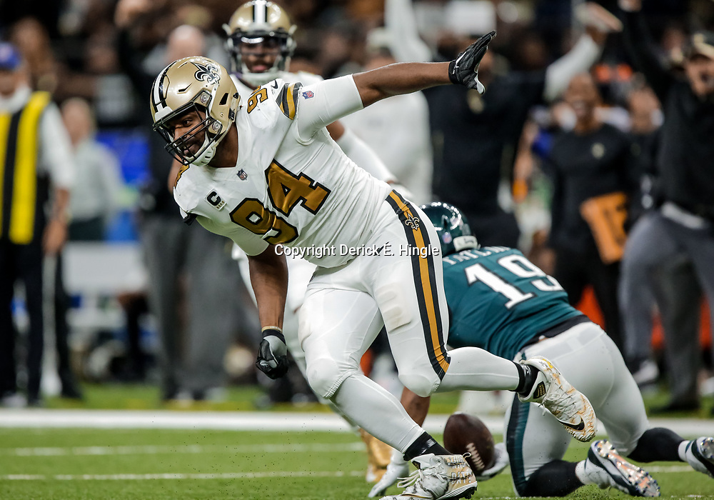 Nov 18, 2018; New Orleans, LA, USA; New Orleans Saints defensive end Cameron Jordan (94) tackles Philadelphia Eagles wide receiver Golden Tate (19) during the second half at the Mercedes-Benz Superdome. Mandatory Credit: Derick E. Hingle-USA TODAY Sports