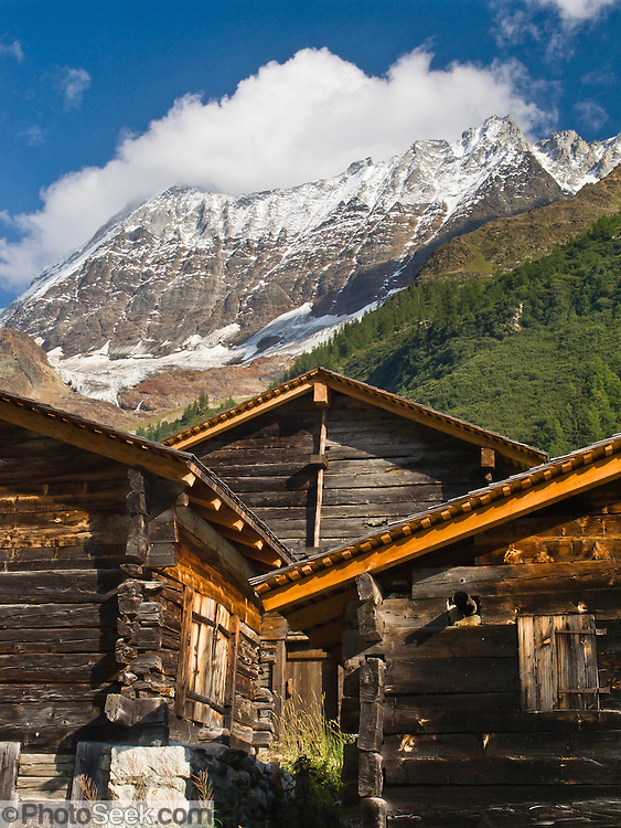 "Historic haylofts are preserved in Lötschental (or Loetschental) in the Valais canton of Switzerland, the Alps, Europe. UNESCO lists ""Swiss Alps Jungfrau-Aletsch"" as a World Heritage Area (2001, 2007)."