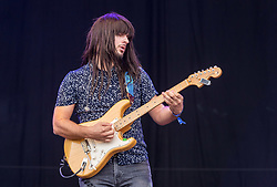 © Licensed to London News Pictures. 01/09/2018. Bristol, UK. The Downs Festival on The Downs in Bristol. Picture of KHRUANGBIN band on the main stage. The one day festival is taking place for the third year and features headliners Noel Gallagher's High Flying Birds, Paul Weller, and Orbital. Photo credit: Simon Chapman/LNP