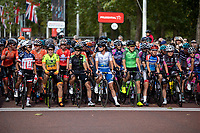 Riders on the start line ahead of The Prudential RideLondon Classique. Saturday 28th July 2018<br /> <br /> Photo: Ian Walton for Prudential RideLondon<br /> <br /> Prudential RideLondon is the world's greatest festival of cycling, involving 100,000+ cyclists - from Olympic champions to a free family fun ride - riding in events over closed roads in London and Surrey over the weekend of 28th and 29th July 2018<br /> <br /> See www.PrudentialRideLondon.co.uk for more.<br /> <br /> For further information: media@londonmarathonevents.co.uk